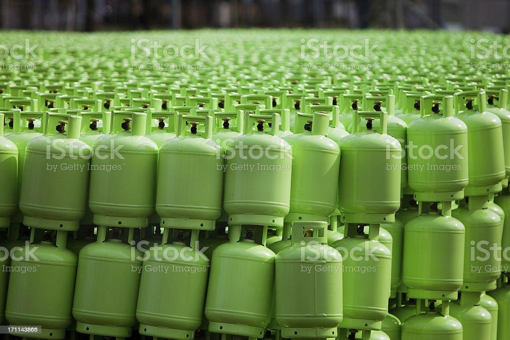 Storage of butane gas cylinders stock photo