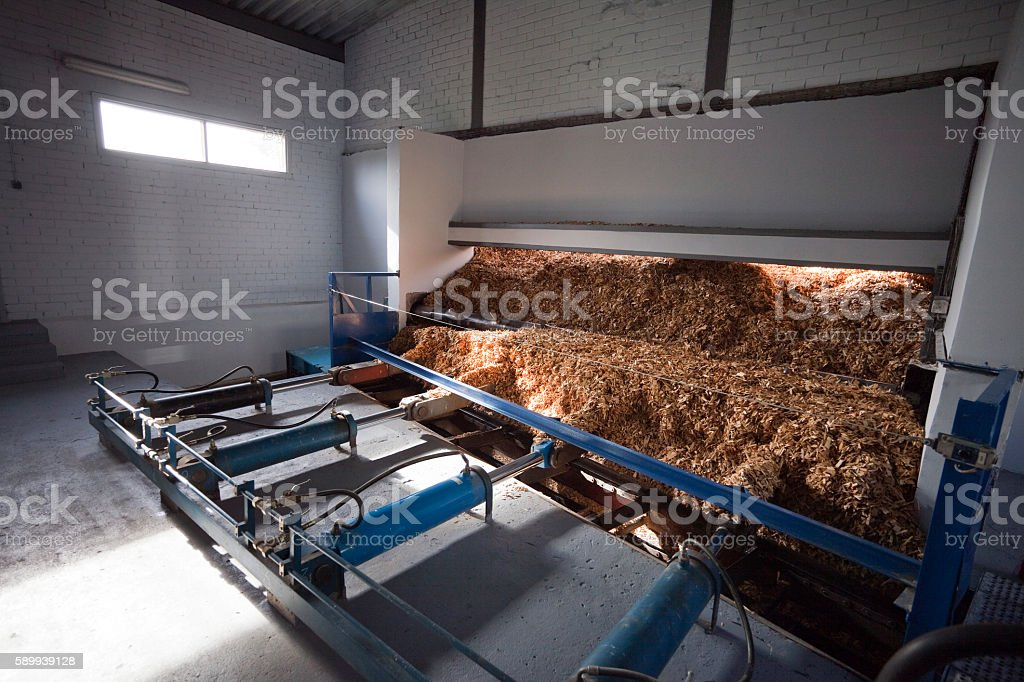 Storage of wood chips stock photo
