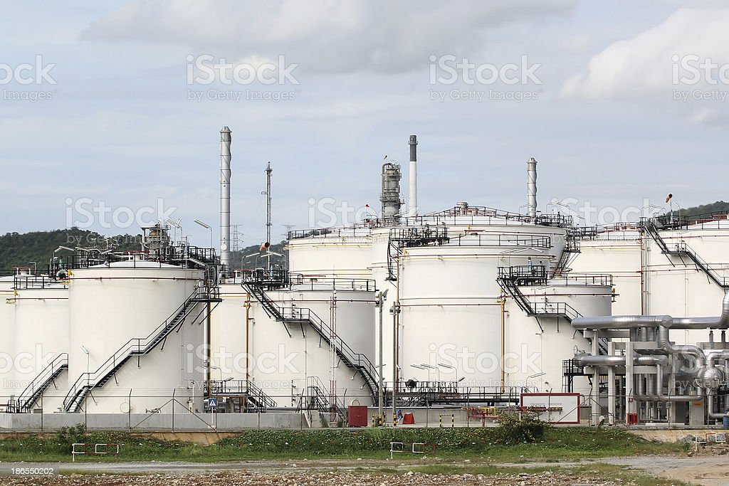 Storage oil tanks royalty-free stock photo