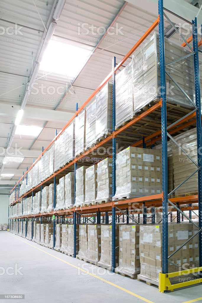 Storage rack warehouse with three levels royalty-free stock photo