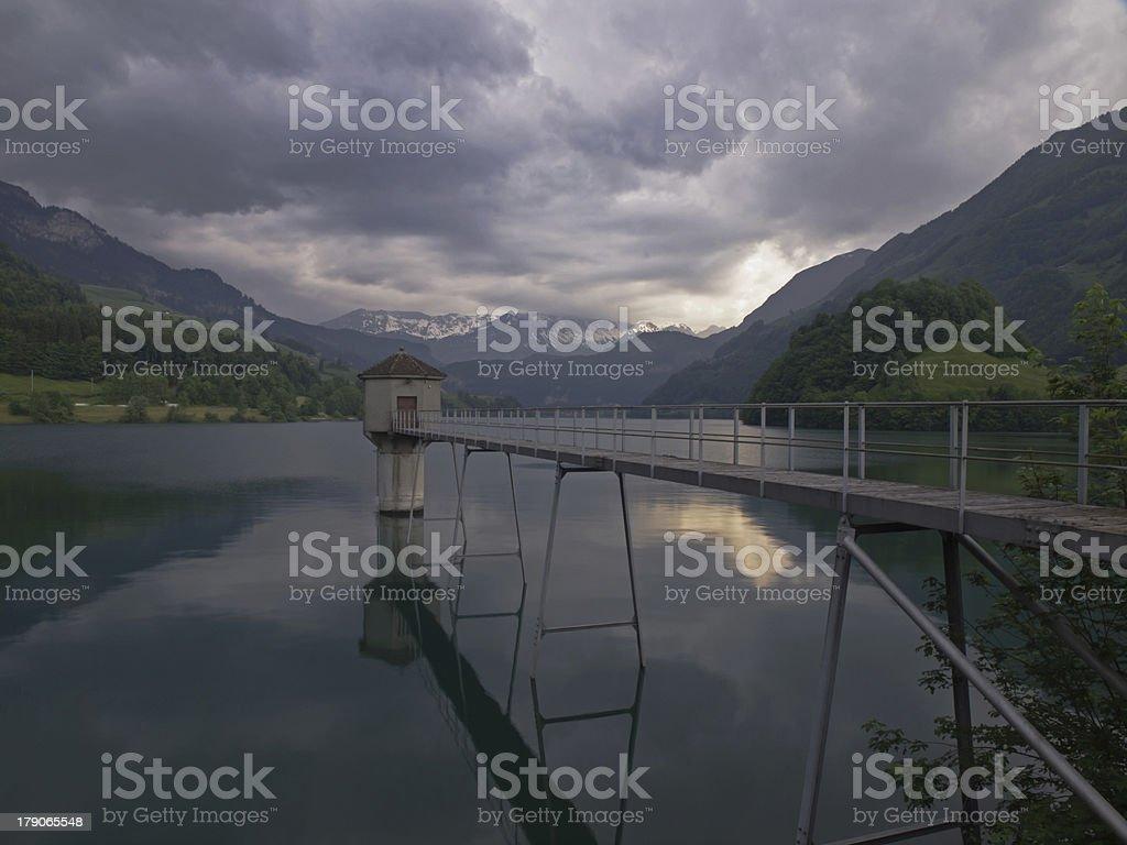 Storage reservoir (Lungernsee/Switzerland) royalty-free stock photo
