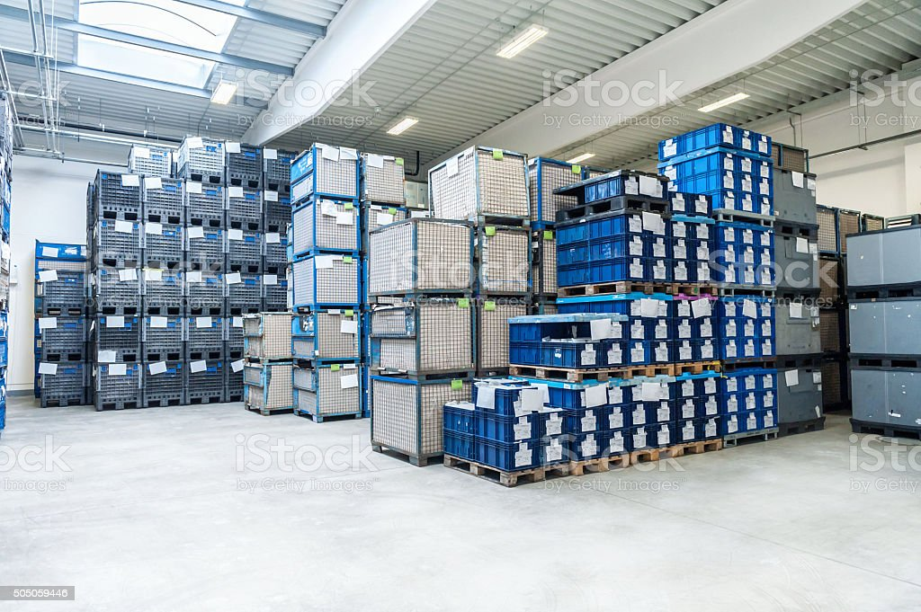 Storage room of large factory stock photo