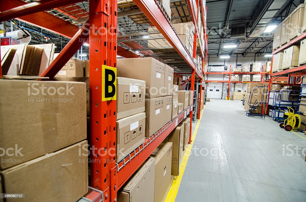 Storage shelves:carton box,garage door stock photo