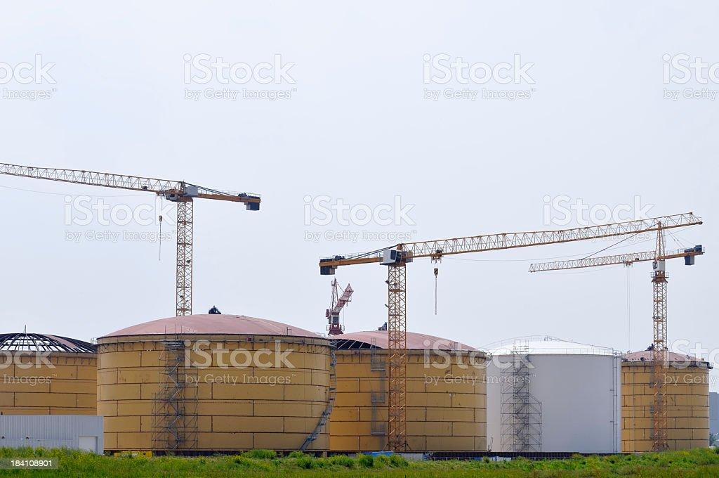 Storage tank construction stock photo
