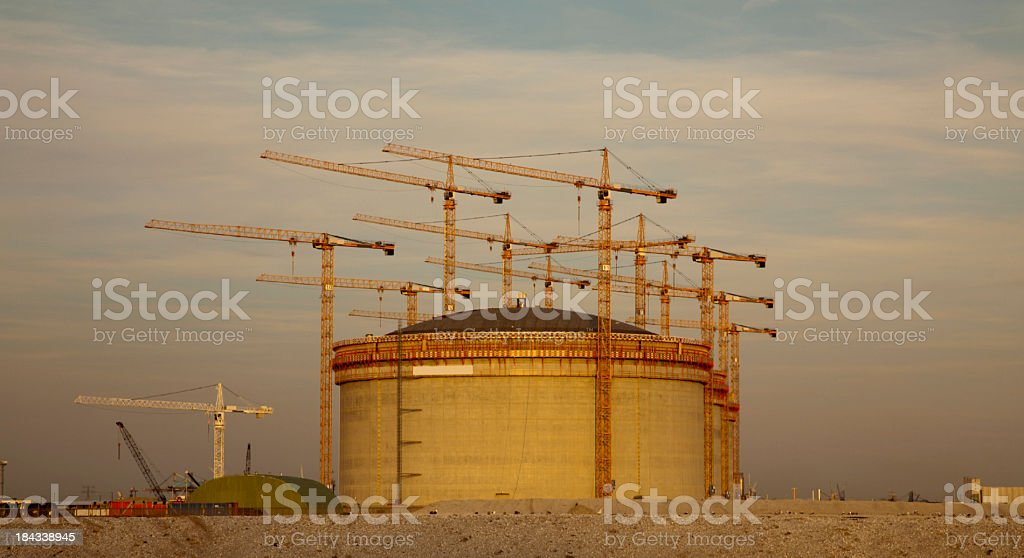 Storage tank in the evening stock photo