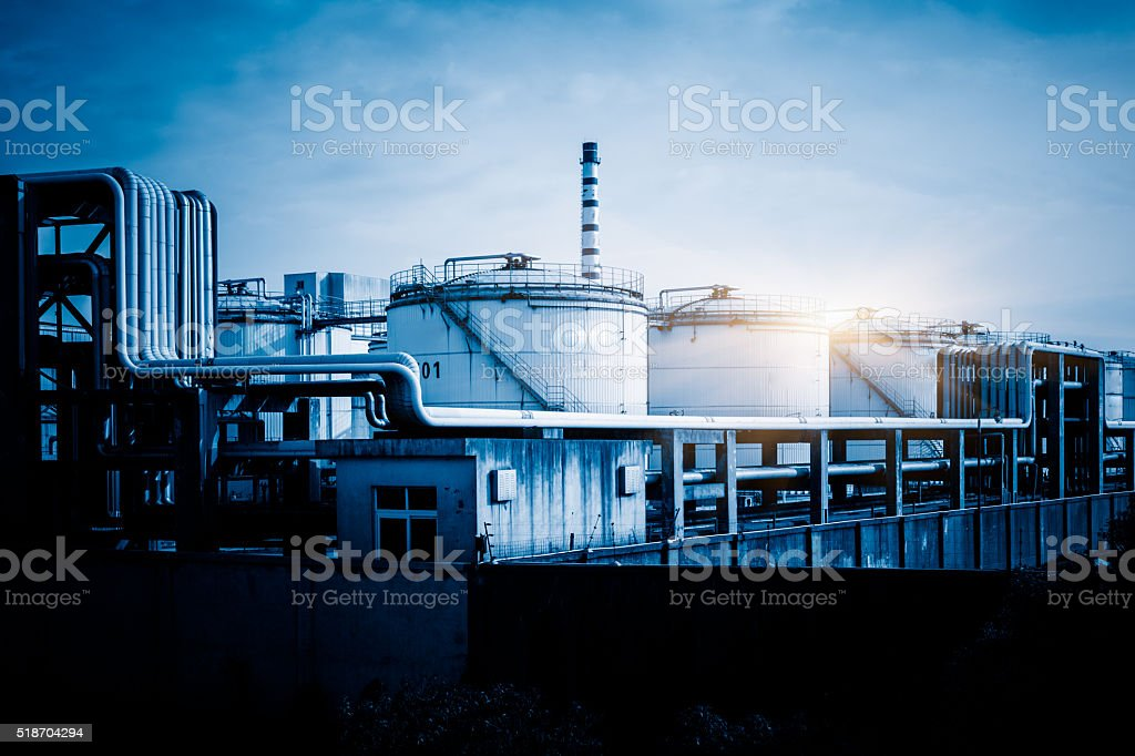 storage tanks and pipelines stock photo