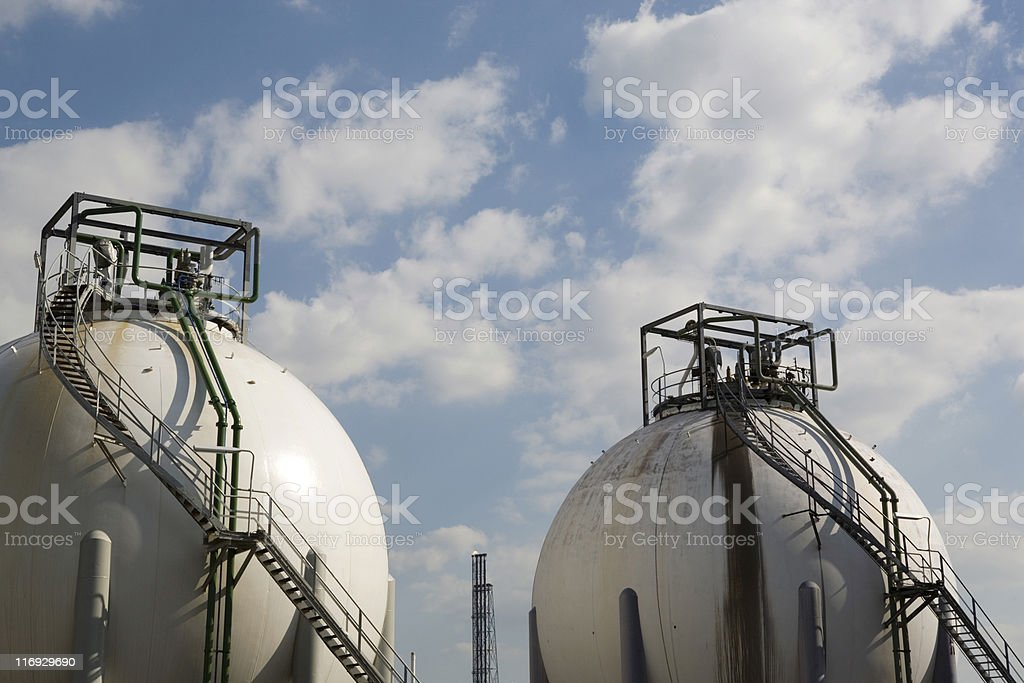 storage tanks at an oil refinery royalty-free stock photo