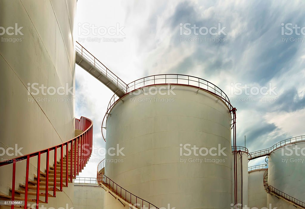 Storage Tanks at Chemical Plant stock photo