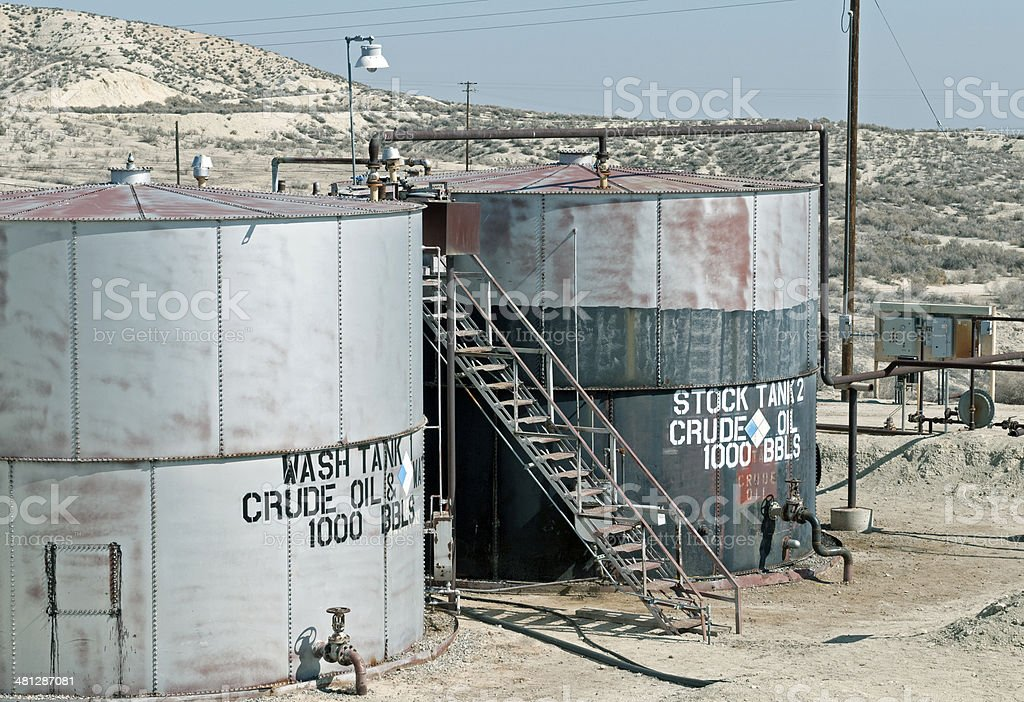 Storage tanks for holding oil from pipelines in California royalty-free stock photo
