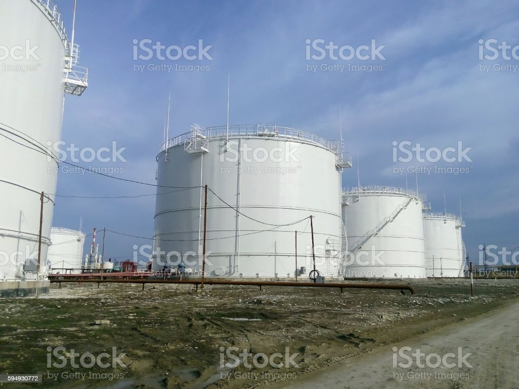 Storage tanks for petroleum products stock photo