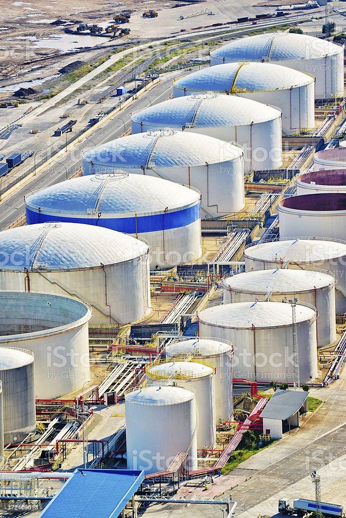 Storage Tanks in Barcelona port royalty-free stock photo