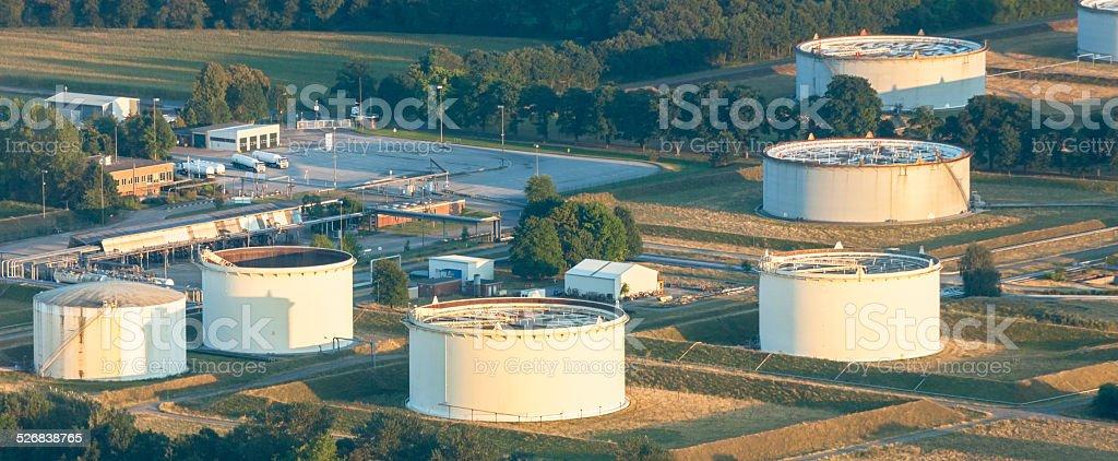Storage Tanks in Lower Rhine Region of Germany stock photo