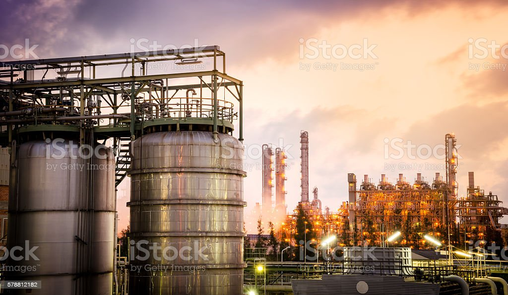 storage tanks with petrochemical plant background stock photo