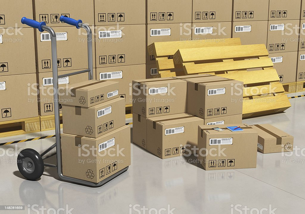 Storage warehouse with packaged goods stock photo