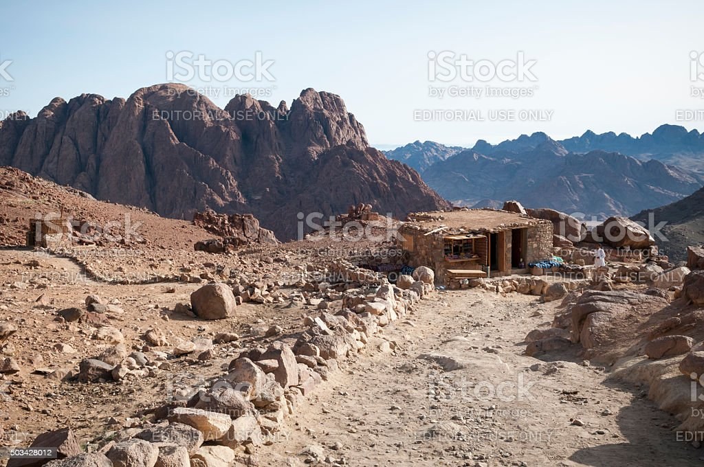 Store and cafe on Mount Sinai stock photo
