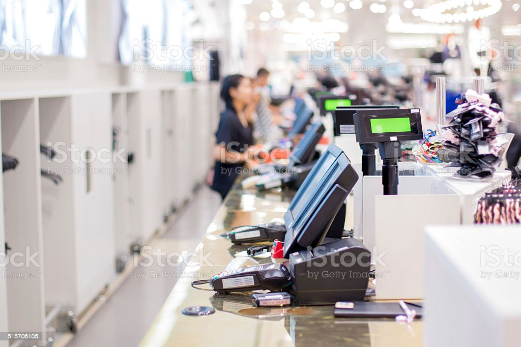 store checkout stock photo