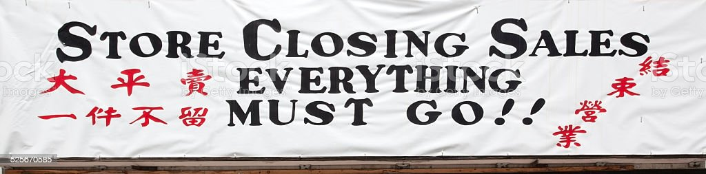 Store Closing Sign  in Chinese and English stock photo