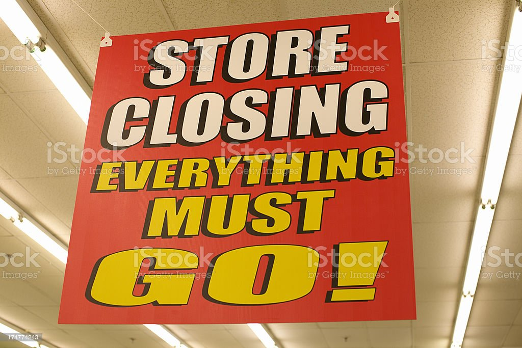 Store Closing Sign stock photo