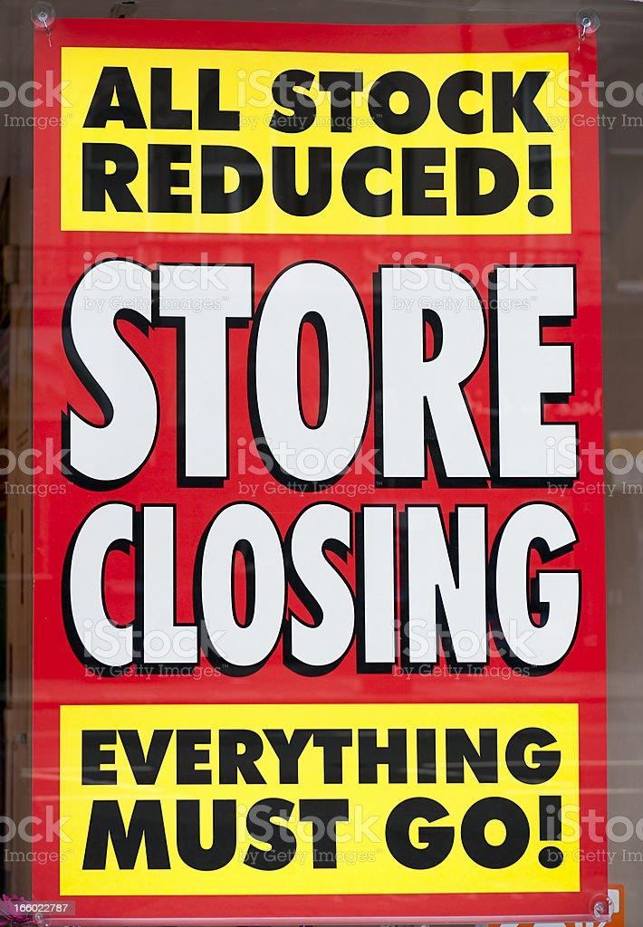 Store Closing Window Display Sign stock photo
