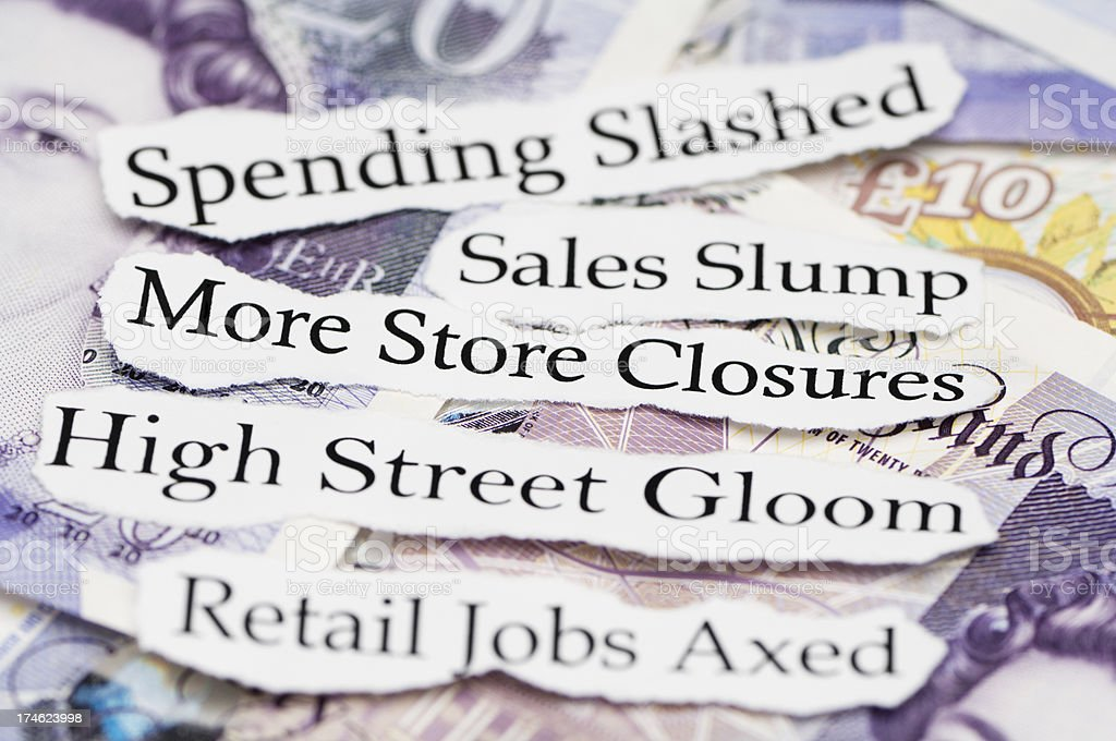 Store closures and retail jobs axed headlines royalty-free stock photo