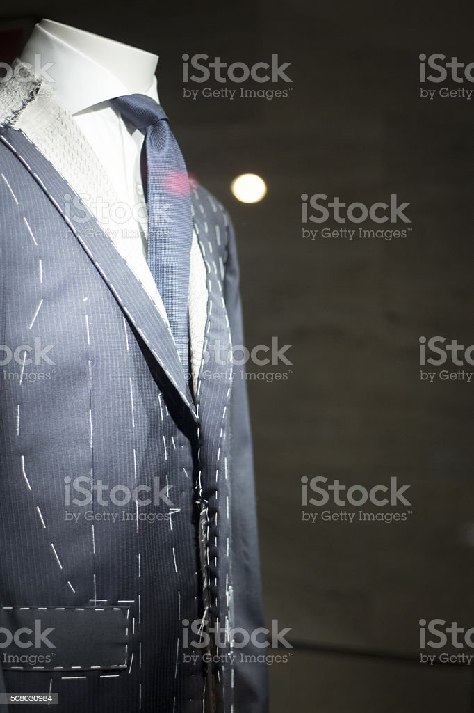 Store clothes dummy in suit shop stock photo