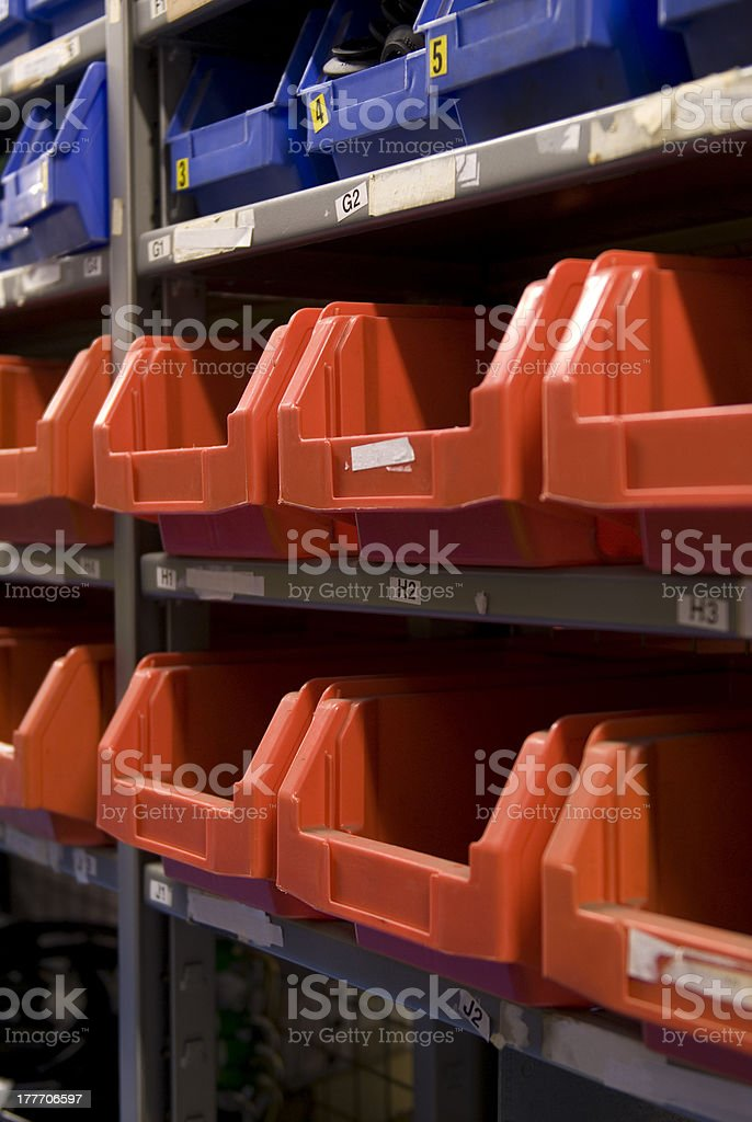 store compartments for small stock parts stock photo