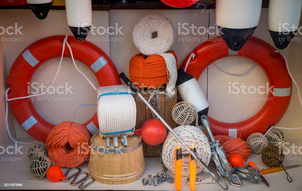 Store display of marine items stock photo
