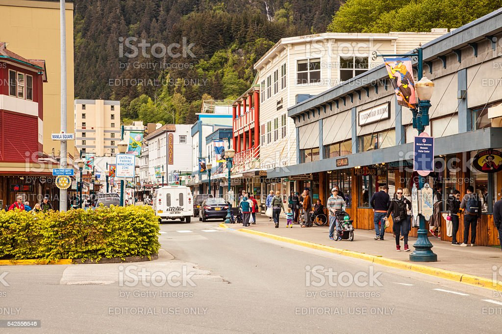 Store Fronts in Downtown Juneau, Alaska stock photo