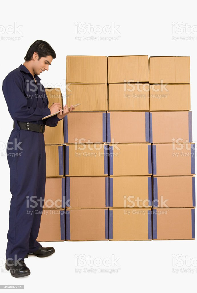 Store in charge checking inventory stock photo