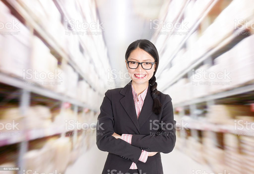 Store manager in storehouse stock photo