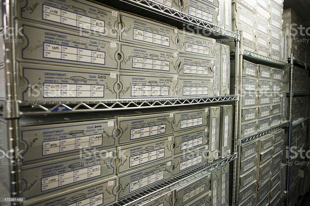 Store room full of boxed histology slides stock photo