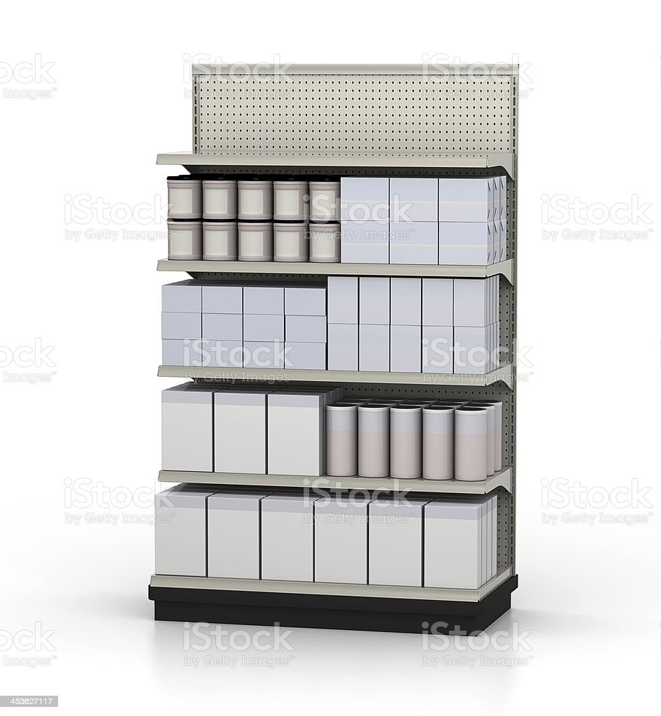 Store shelf with blank merchandise against white background royalty-free stock photo