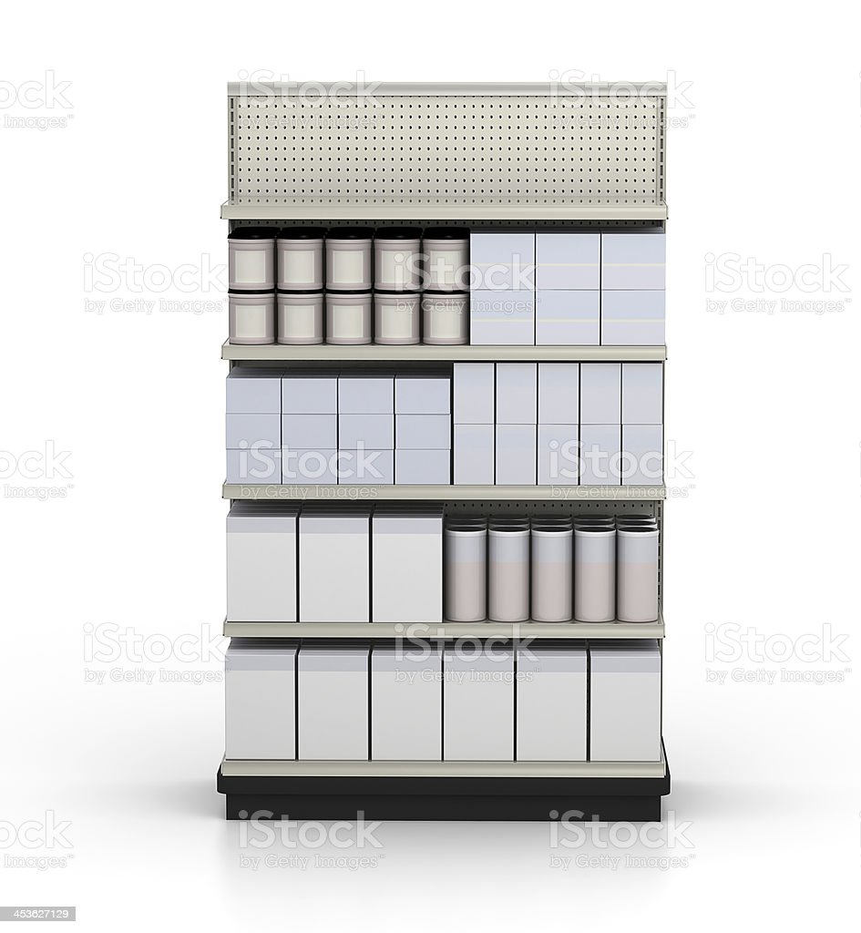 Store Shelves - with blank merchandise products royalty-free stock photo