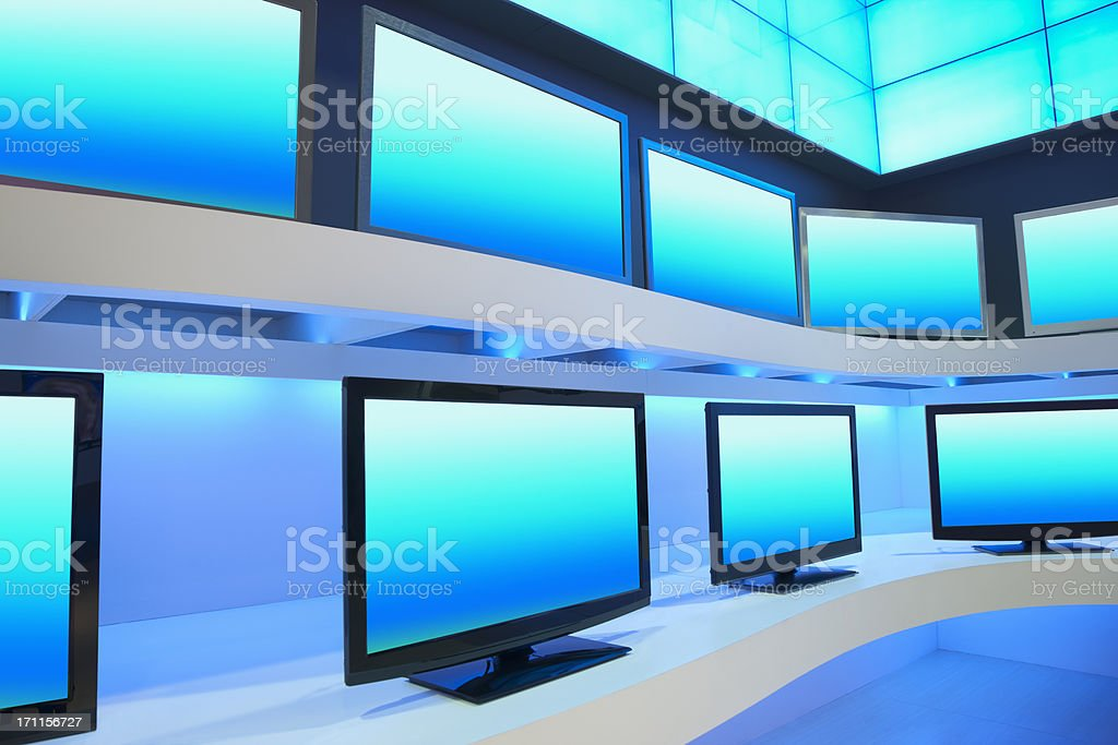 TV Store with rows of LDC TVs stock photo