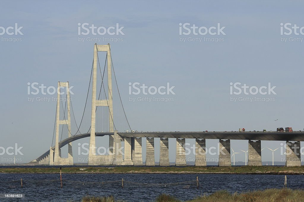 Storebæltsbroen a Great bridge and longest suspension span stock photo