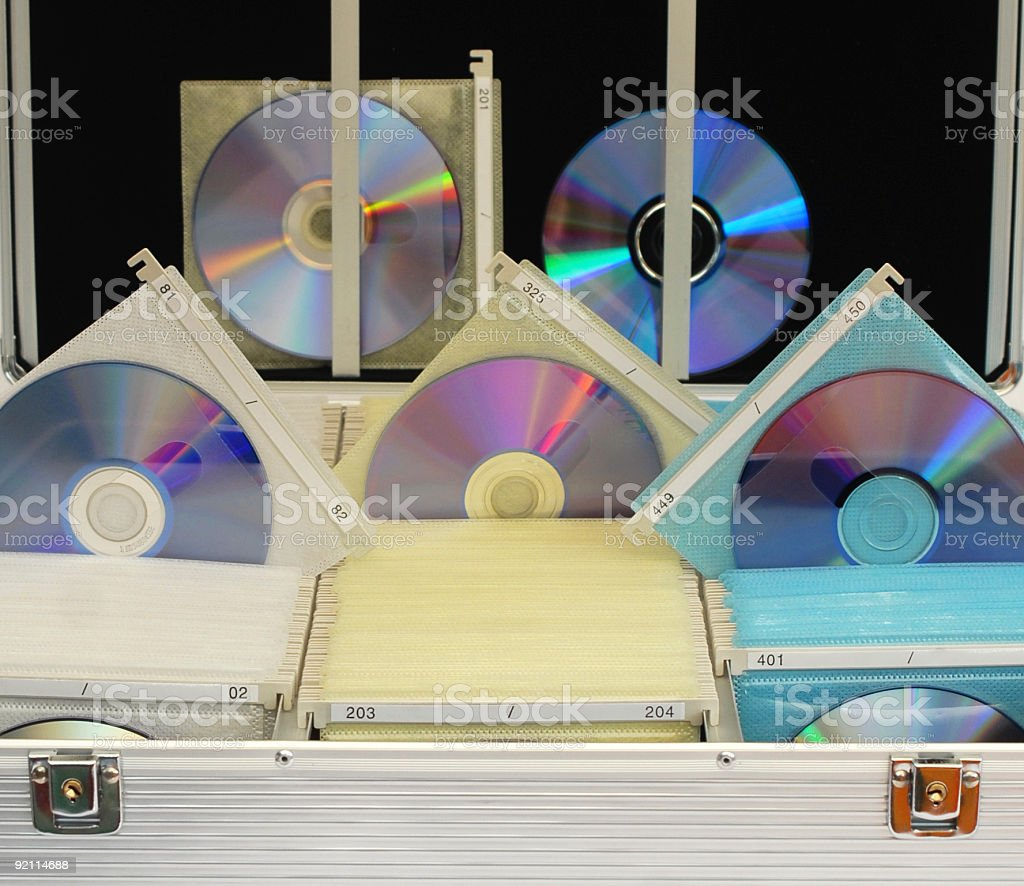 DVD stored in a case stock photo