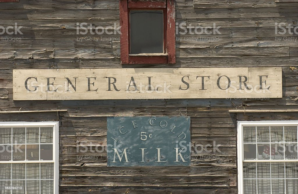 Storefront of Old-fashioned General Store stock photo