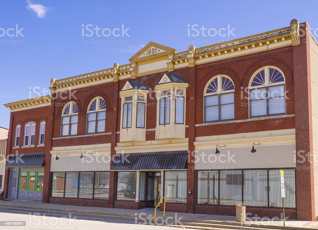Storefronts small town Midwest restored stock photo