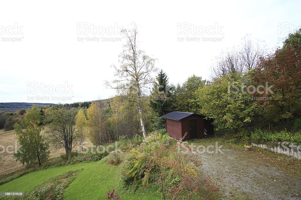Storehouse in fall stock photo