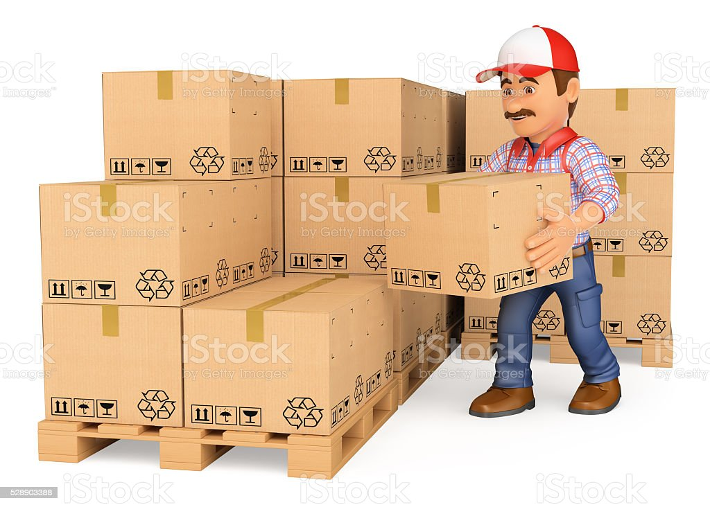 3D Storekeeper stacking boxes in a warehouse stock photo