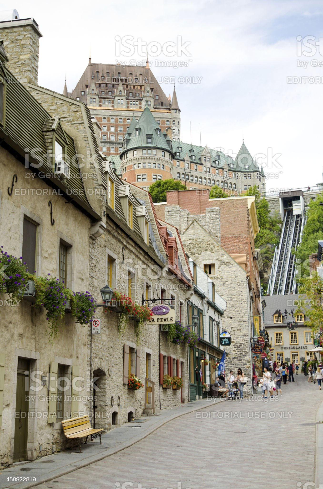 Stores along Rue Sous-Le-Fort in Quebec City, Canada royalty-free stock photo