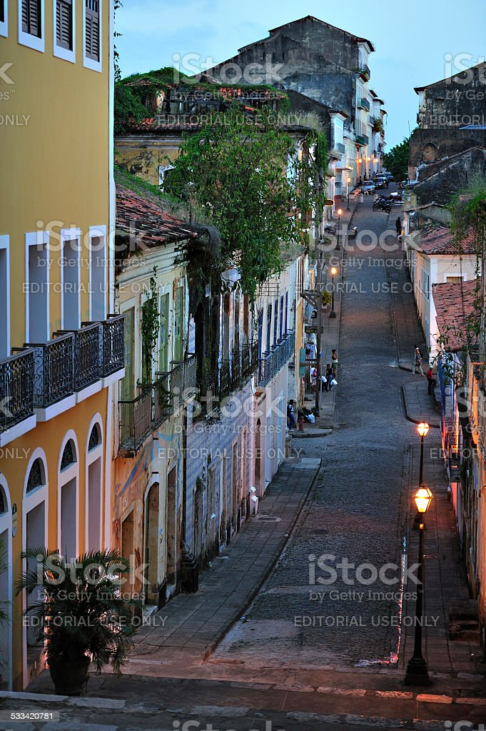 Stores along the street, downtown, S‹ao Lu'is, Brazil stock photo