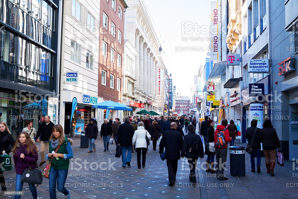 Stores and people in Westenhellweg stock photo