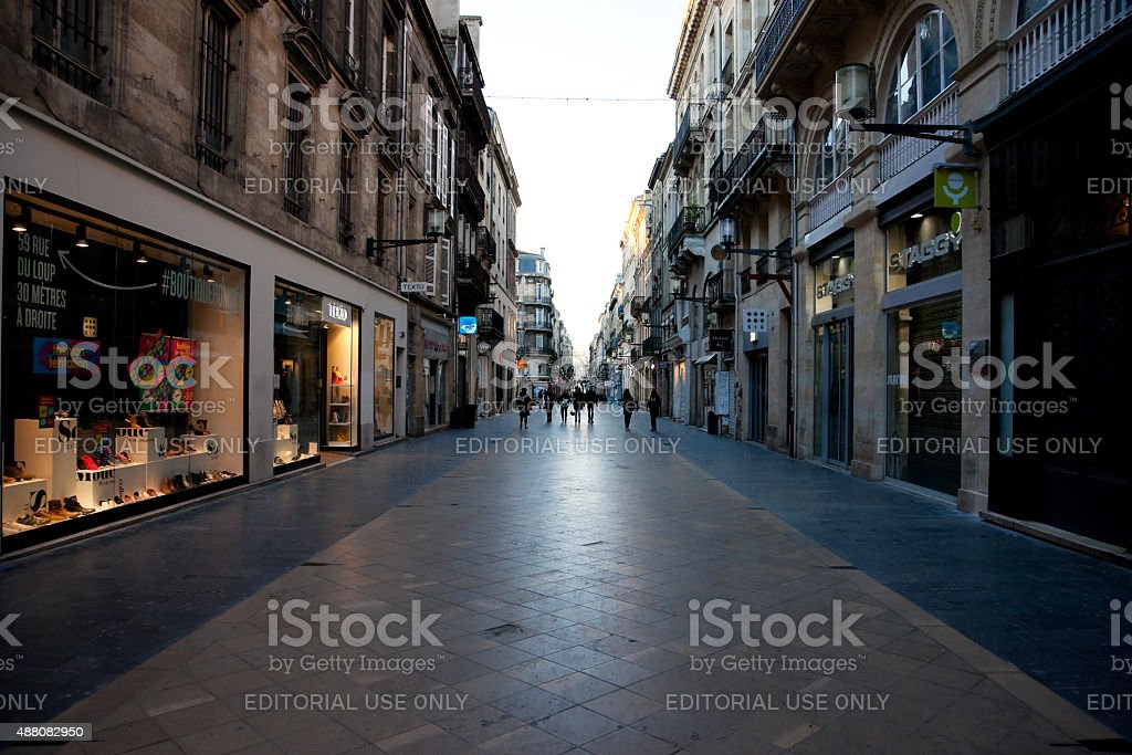 Stores are closed on Saint Catherine Street in Bordeaux stock photo
