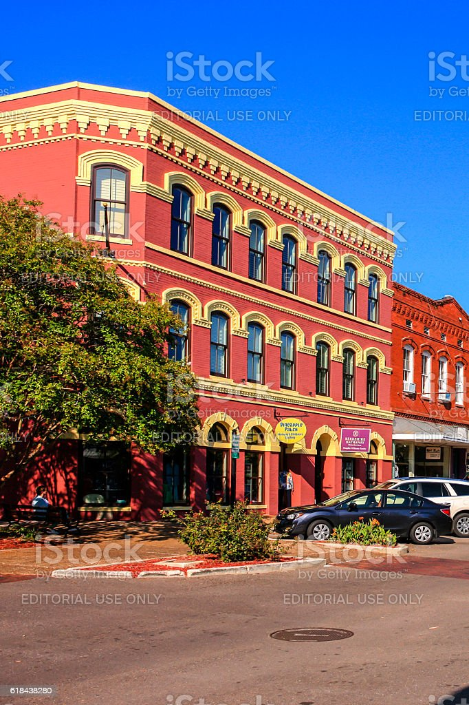 Stores on Centre Street in downtown Fernandina Beach City, Florida stock photo