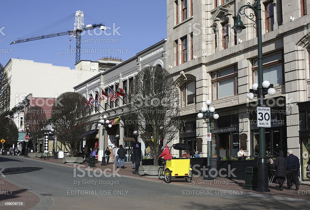 Stores on Victoria's Government Street Downtown, British Columbia, Canada royalty-free stock photo