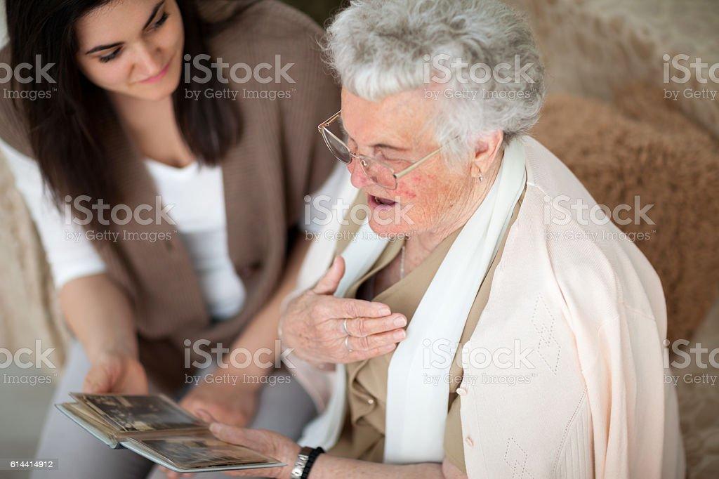 Stories from grandma's past stock photo