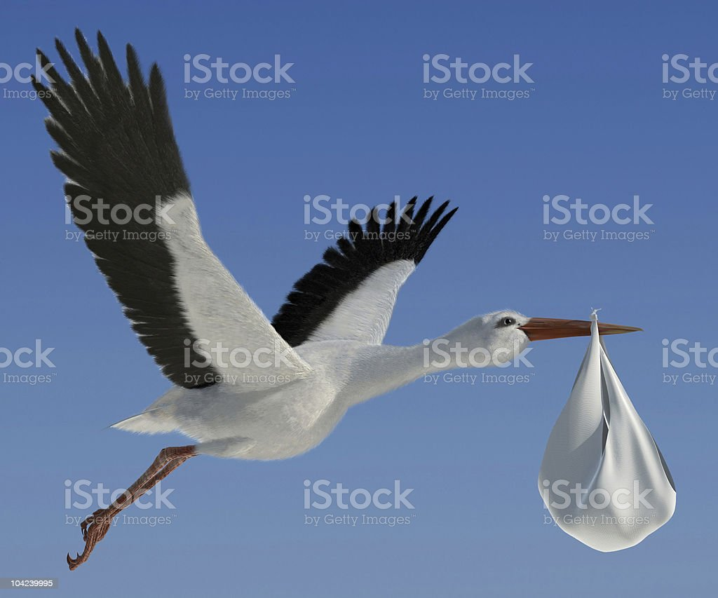 Stork carrying a baby filled bundle stock photo