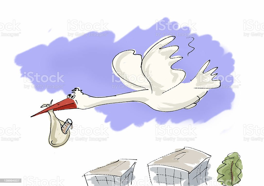 stork to bring newborn royalty-free stock photo