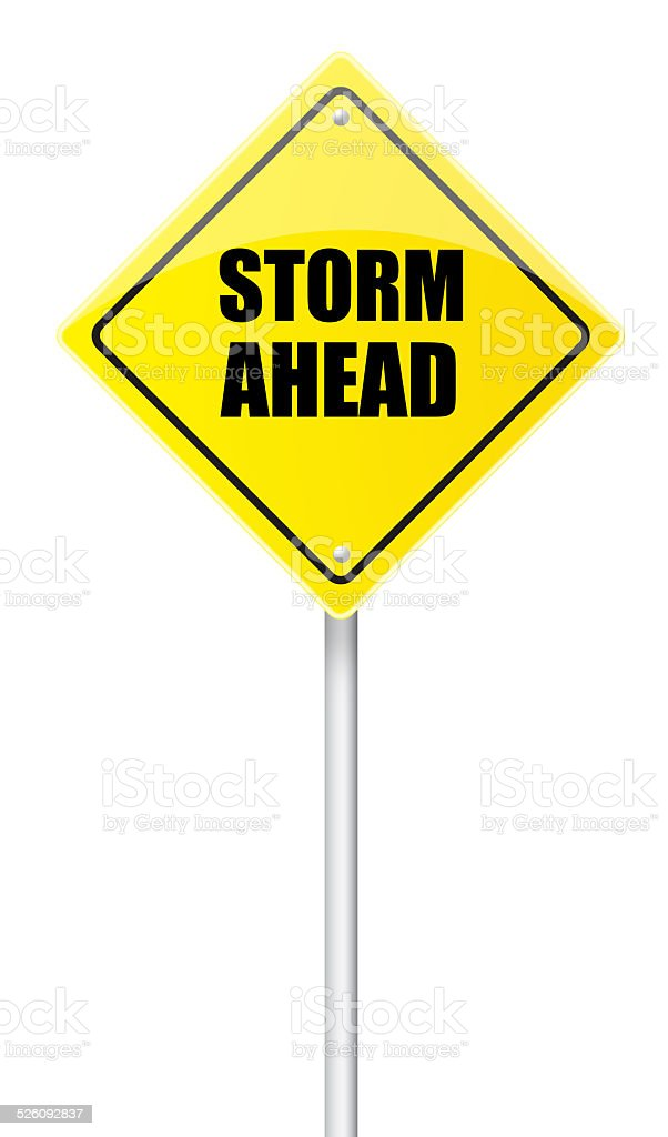 Storm ahead road sign stock photo